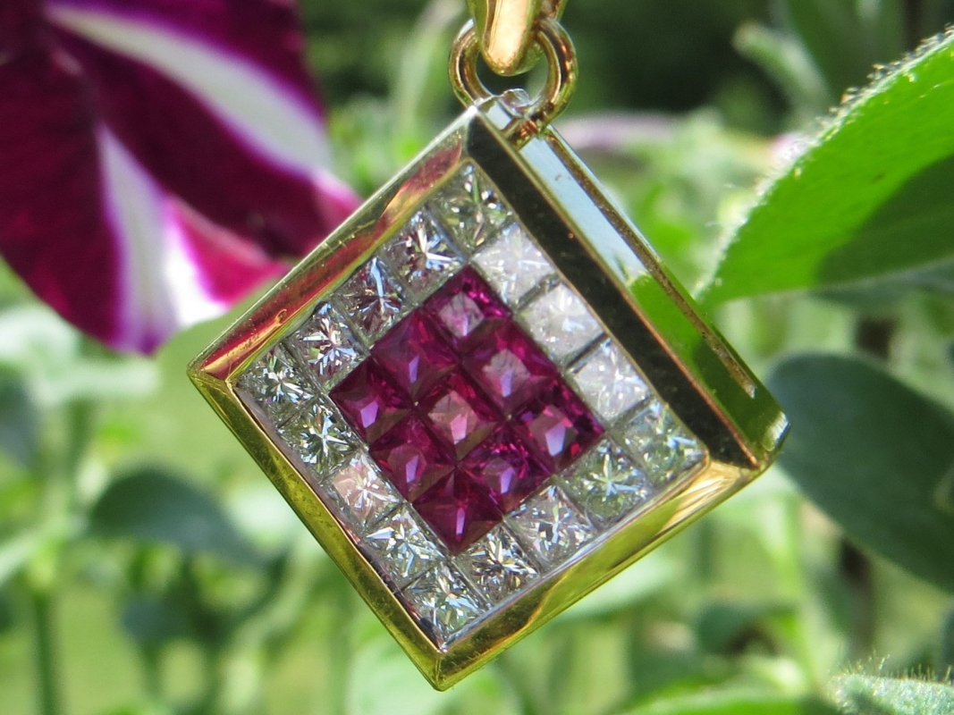 Ruby, Rubies, Diamond, Diamonds, Pendant, Pendants, Necklace, Necklaces, Gold, Yellow Gold, 18Kt Gold, 18Kt Yellow Gold, Providence, Jewelry Store, Jewelry, Jeweler, Handmade, Custom, Platinum, Engagement, Wedding, Hegeman & Co.