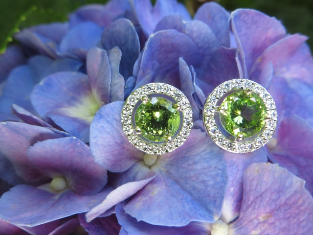 Peridot, Peridots, Earring, Earrings, Diamond, Diamonds, Diamond Halo, Diamond Halos, Gold, White Gold, 14Kt Gold, 14Kt White Gold, Providence, Jewelry Store, Jewelry, Jeweler, Fine Jewelry, Custom, Custom-Made, Handmade, Platinum, Engagement, Wedding, Hegeman & Co.